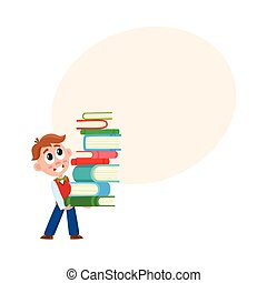School boy holding huge stack, pile of books