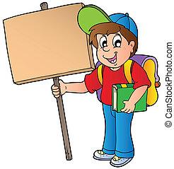 School boy holding wooden board