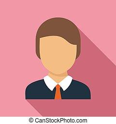 School boy icon, flat style