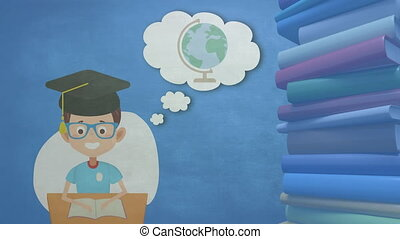 Digital animation of School boy in graduation hat icon with school concept icons and text on thought bubble over stack of books against blue background