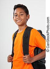 School boy in orange t-shirt - Smiling school boy aged ...