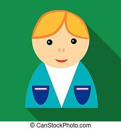 School boy in uniform icon, flat style