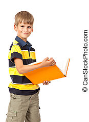School boy is holding a book. Back to school