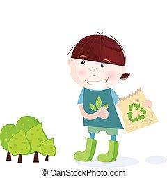 School boy is recycling