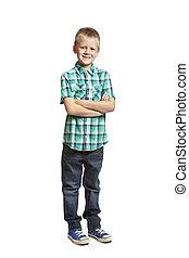 School boy on white background