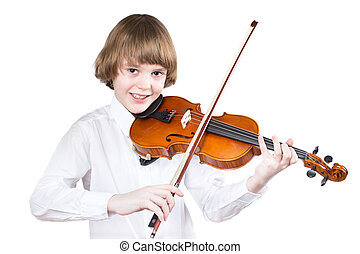 School boy playing violin, isolated on white