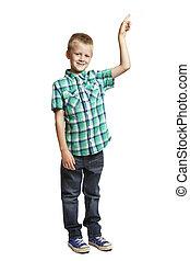 School boy pointing on white background