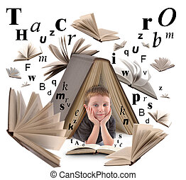 A little boy is under a big book on a white isolated background for an education or reading concept. There are letters floating around him.