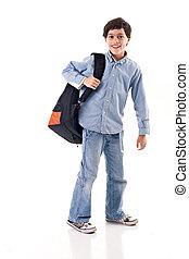 School Boy - School boy using a backpack