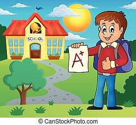 School boy with A plus grade