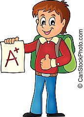 School boy with A plus grade theme 1
