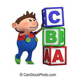 school boy with ABC cubes - school boy stacking ABC blocks...