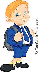 school boy with bag