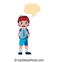 school boy with bag talk bubble