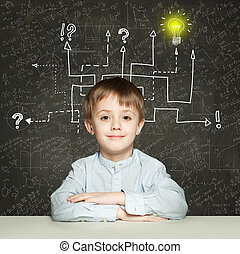 School boy with question signs and light idea bulb, education concept