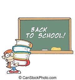 School Boy With School Chalk Board