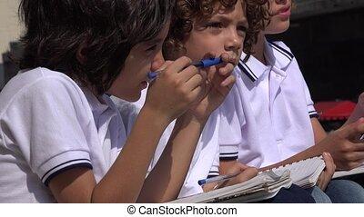 School Boys Sitting Together