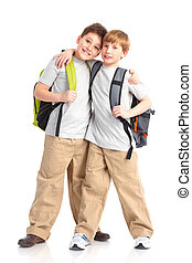 school boys - Happy smiling school boys. Isolated over white...