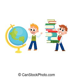 School boys studying globe, carrying book pile