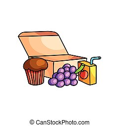 School breakfast in eco cardboard box with grapes, muffin and juice