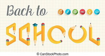 school, brieven, back, creatief