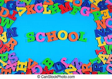 school, brieven, geschreven, kleurrijke, plastic