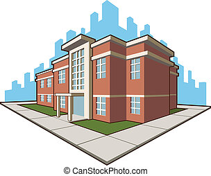 School Building - A vector set of a school building. This ...
