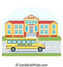 school building and bus