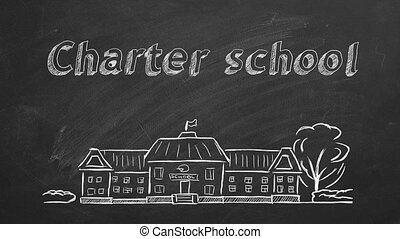Charter school - School building and lettering Charter ...