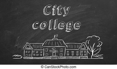 City college - School building and lettering City college on...