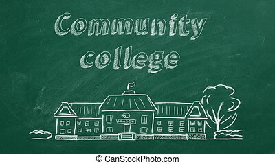 Community college - School building and lettering Community ...