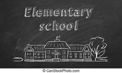 School building and lettering Elementary school on blackboard. Hand drawn sketch.