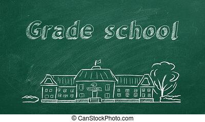 Grade school - School building and lettering Grade school on...