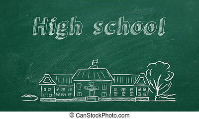 High school - School building and lettering High school on ...