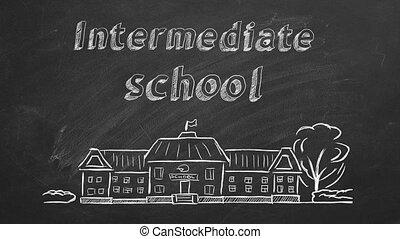 Intermediate school - School building and lettering ...