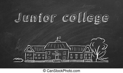 School building and lettering Junior college on blackboard. Hand drawn sketch.
