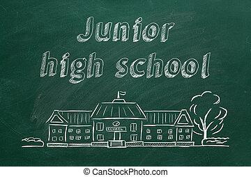 School building and lettering Junior high school on blackboard. Hand drawn sketch.