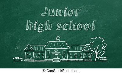 Junior high school - School building and lettering Junior ...