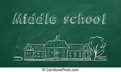 Middle school - School building and lettering Middle school ...