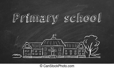 Primary school - School building and lettering Primary ...