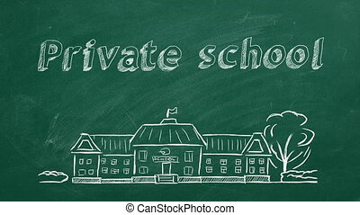 Private school - School building and lettering Private ...