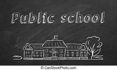 School building and lettering Public school on blackboard. Hand drawn sketch.