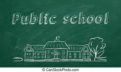 Public school - School building and lettering Public school ...