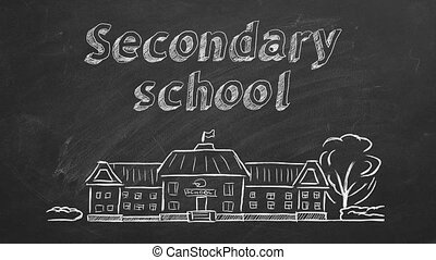 Secondary school - School building and lettering Secondary ...