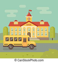 School building and yellow school bus flat illustration