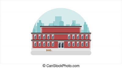 School building video animation with a city background
