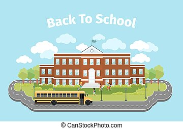 School building. Background with graduation concept. Vector illustration