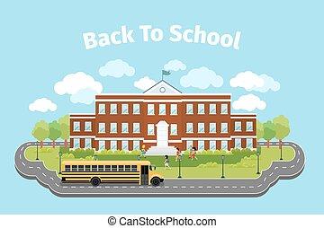 School building. Background with graduation concept. Vector illustration