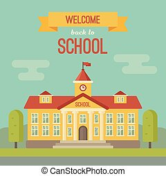 School building banner with text Welcome back to school