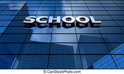 School building blue sky timelapse.